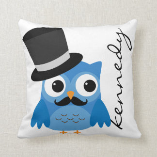 Blue Owl with Mustache and Top Hat Pillow