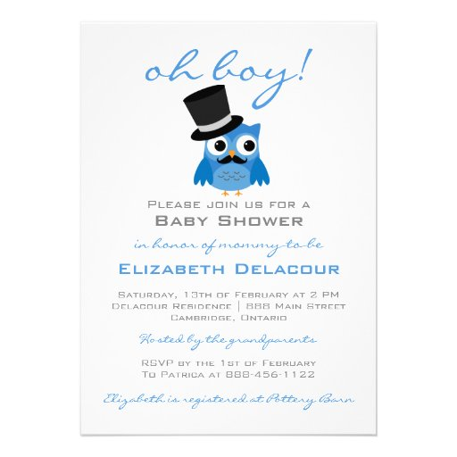 Blue Owl with Mustache Baby Shower Invitation