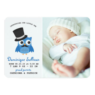 Blue Owl With Mustache Photo Birth Announcement