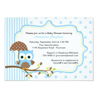 Blue Owl with Umbrella Boys Baby Shower 5x7 Paper Invitation Card