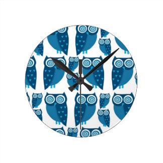 """Blue Owls"" Custom Designed Medium Clock"