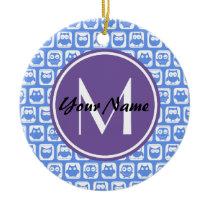 Blue Owls Custom Monogram Ceramic Ornament