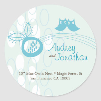 Blue Owls In Love Custom Address Label Sticker
