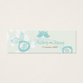 Blue Owls In Love Custom Thank You Gift Tag / Mini Business Card
