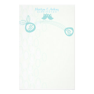 Blue Owls In Love Personal Thank You Stationery