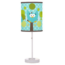 Blue Owls in Trees Table Lamp