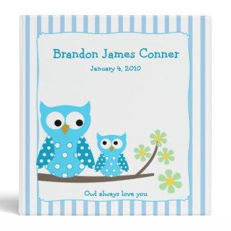 Blue Owls Mom & Baby Photo Album binder