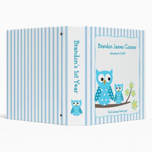 Blue Owls Mom & Baby Photo Album Vinyl Binders