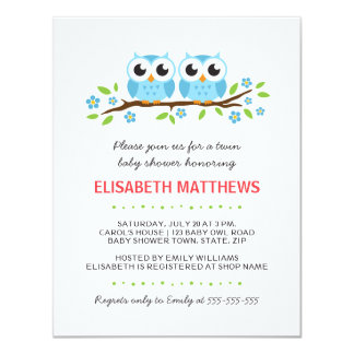 Blue owls on floral branch twin boys baby shower card