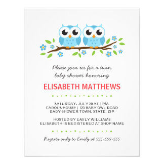 Blue owls on floral branch twin boys baby shower personalized invite