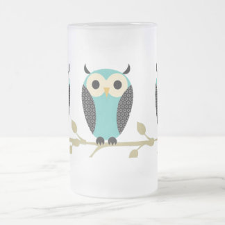 Blue Owls On Limb 16 Oz Frosted Glass Beer Mug