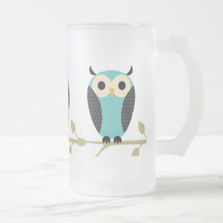 Blue Owls On Limb Coffee Mugs
