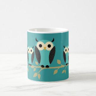 Blue Owls On Limbs Coffee Mug
