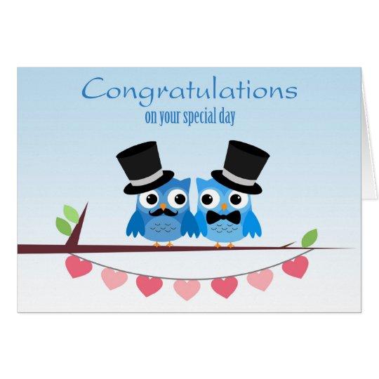 Blue Owls, Pink Hearts, Gay Men Wedding Congratula Card