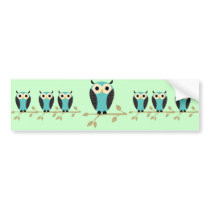 Blue Owls Sitting On Limbs Bumper Sticker