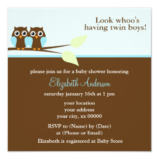 Blue Owls Twins Baby Shower Card