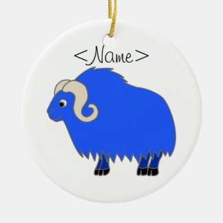 Blue Ox with Curled Horns Ceramic Ornament