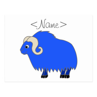 Blue Ox with Curled Horns Postcard