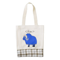 Blue Ox with Curled Horns Zazzle HEART Tote Bag