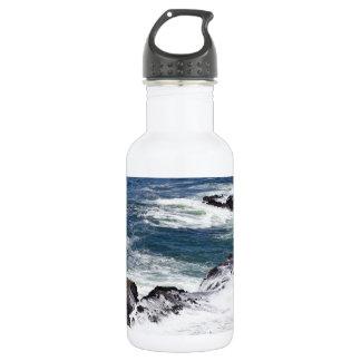 Blue pacific ocean surf 18oz water bottle