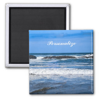 Blue Pacific Ocean With Name 2 Inch Square Magnet