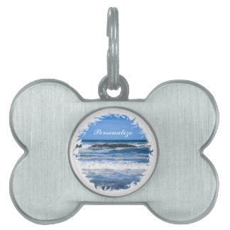 Blue Pacific Ocean With Name Pet Name Tag