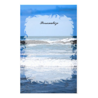 Blue Pacific Ocean With Name Stationery