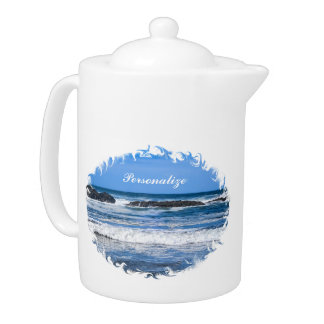 Blue Pacific Ocean With Name Teapot