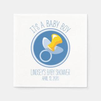 Blue Pacifier   Baby Boy Shower Paper Napkin