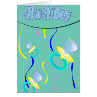 Blue Pacifier It's A Boy Greeting Card