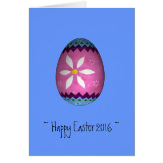 Blue Pained Easter Egg Happy Easter 2016 Card