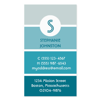 Blue paint chip modern monogram personal calling business cards