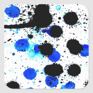 Blue Paint Drips Square Sticker
