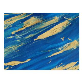 Blue paint smears postcard