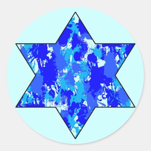 Blue Paint Splatter Jewish Star Classic Round Sticker