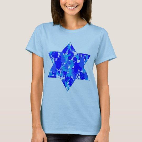 Blue Paint Splatter Jewish Star T-Shirt