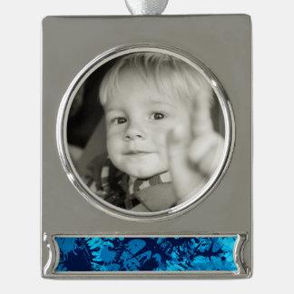 Blue Paint Splatter Silver Plated Banner Ornament