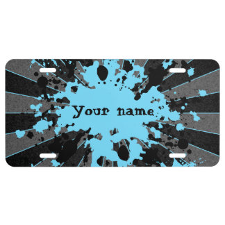 Blue paint splatters black and gray personalized license plate