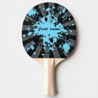 Blue paint splatters black and gray personalized Ping-Pong paddle