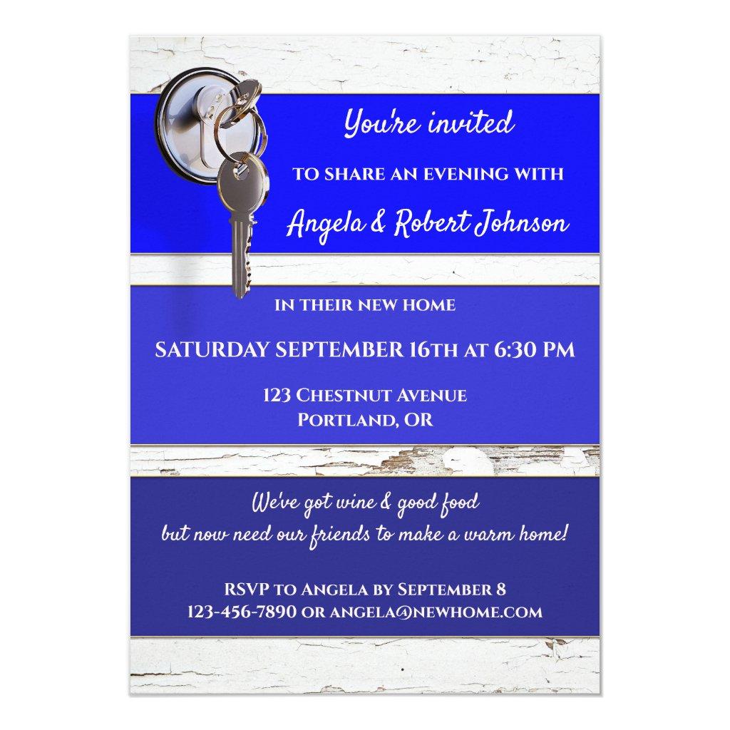 Blue Paint Swatch Key Housewarming Invitation