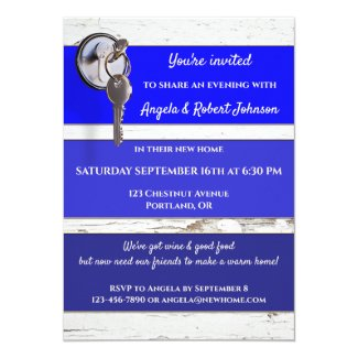 Blue Paint Swatch Key Housewarming Invitation