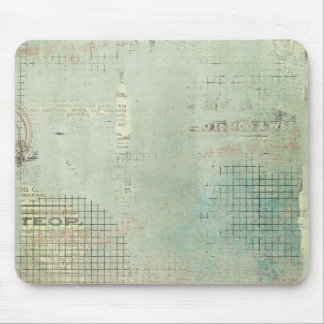 blue paint vintage Newspaper STamped collage Mouse Pad