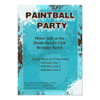 Blue Paintball Party Invite