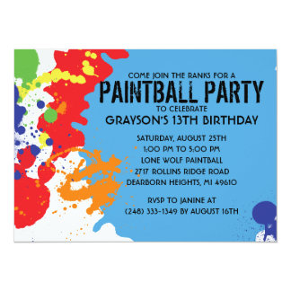 Blue Paintball Splatter Paintball Birthday Party Personalized Invites