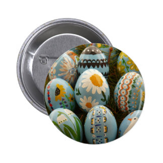 Blue Painted Easter Eggs Button