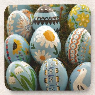 Blue Painted Easter Eggs Beverage Coasters