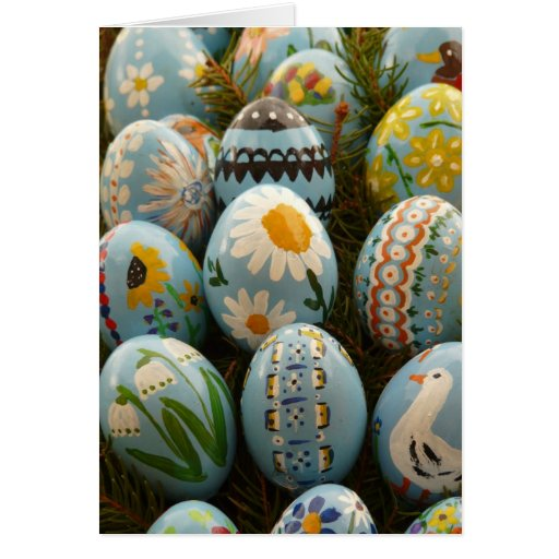Blue Painted Easter Eggs Greeting Cards