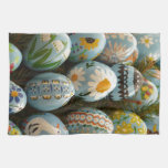 Blue Painted Easter Eggs Kitchen Towel