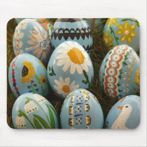 Blue Painted Easter Eggs Mouse Pads