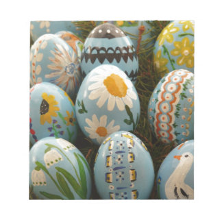 Blue Painted Easter Eggs Note Pad